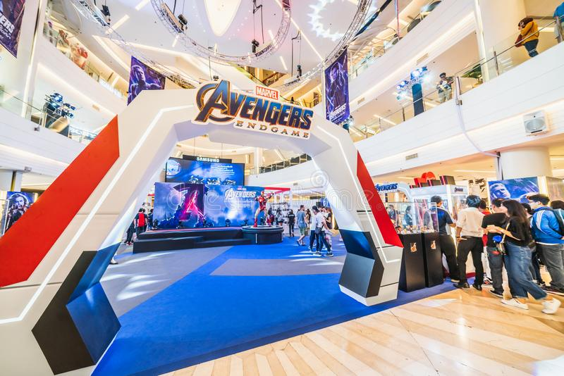Bangkok, Thailand - Apr 25, 2019: Crowded people attending Avengers Endgame exhibition booth in shopping mall royalty free stock photo