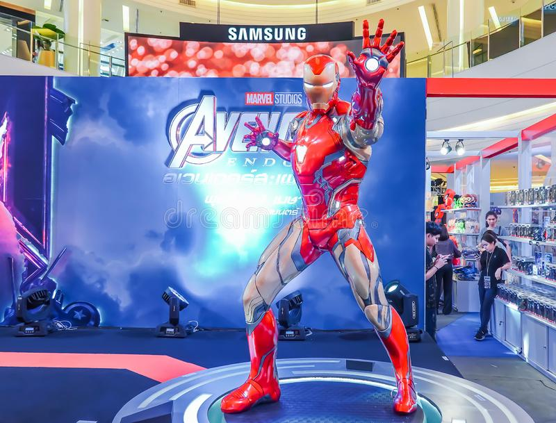 Life-sized Super hero Iron Man model show in Avengers Endgame exhibition booth royalty free stock photography