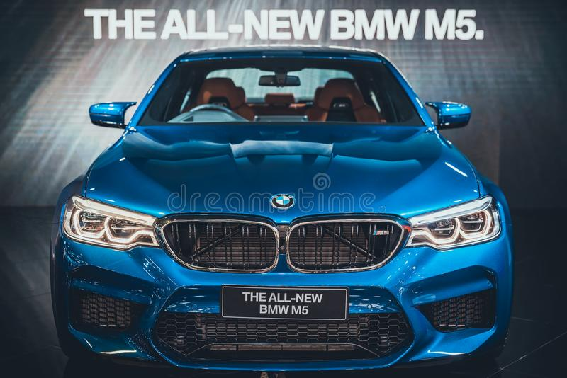 Bangkok, Thailand - Apr 4, 2018: New BMW M5 display on stage at the 39th Bangkok International Motor Show 2018 at BMW booth event. In Impact Challenger Hall royalty free stock photos