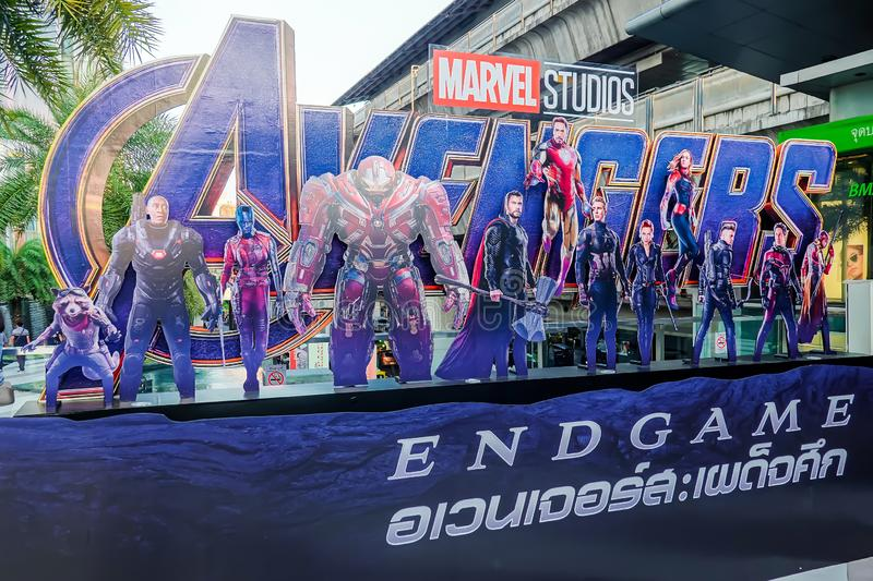 Avengers Endgame poster displayed; The Avengers, is a American superhero film based on the Marvel Comics stock image