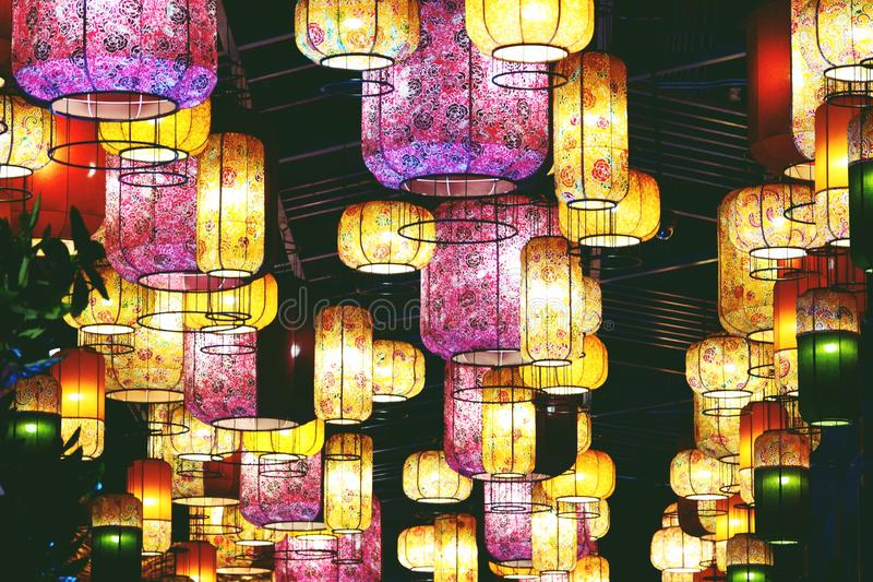 BANGKOK, THAILAND-APRIL 16, 2019: Ceiling Lights modern in Icon Siam shopping mall.  royalty free stock images