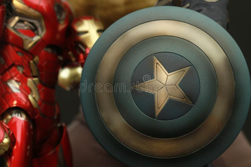 Close up shot Shield of Captain America superheros figure in action appearing in American comic books by Marvel royalty free stock photo
