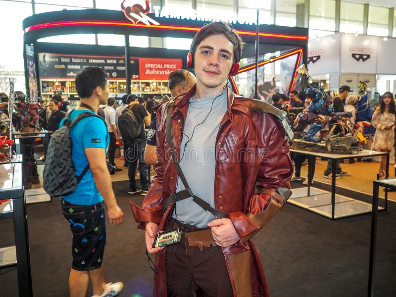 BANGKOK, THAILAND - APRIL 23, 2017: The cosplayers dressed as `Star-Lord` from `Guardians of the Galaxy 2` at Thailand Comic C. On 2017 in ROYAL PARAGON HALL royalty free stock image