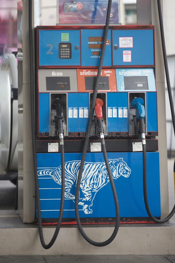 Bangkok,Thailand,April 27,2018,Fuel pump or nozzles in gas or oi royalty free stock photo
