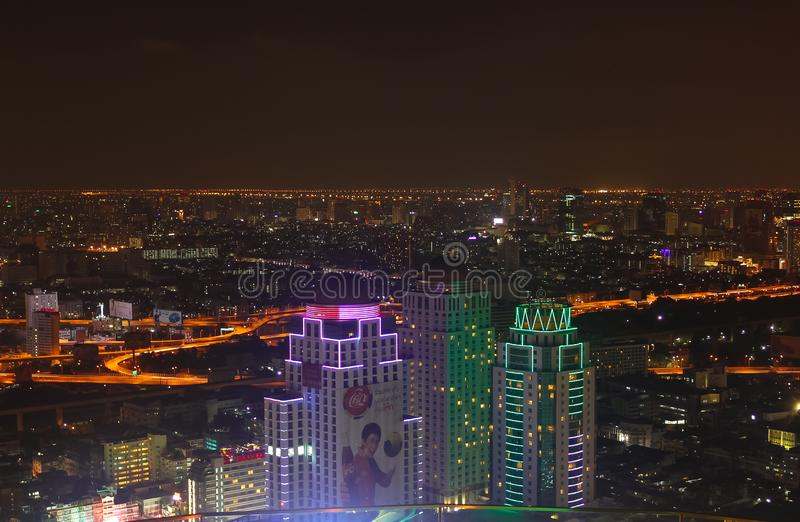 Bangkok, Thailand - April 28, 2014. Image showing some buildings and lights of the city of Bangkok at night stock images