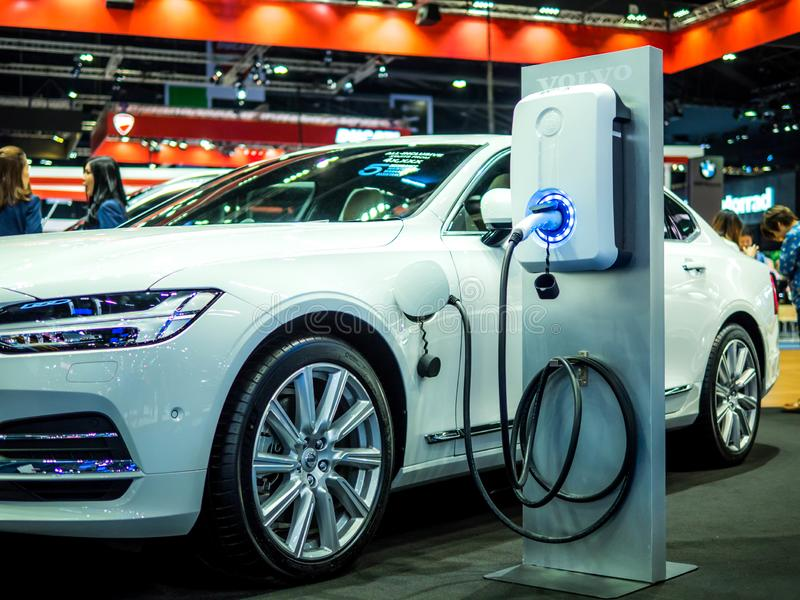 BANGKOK, THAILAND - APRIL 6, 2018 : Image of Volvo renewable energy electric cars in the 39th Bangkok interanational motor show stock photography