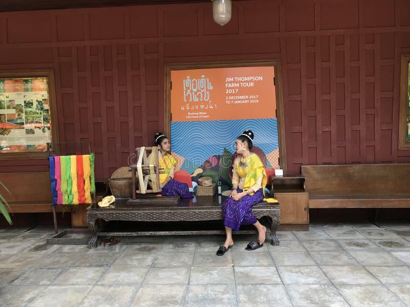 BANGKOK THAILAND - APRIL 16, 2018: Jim Thompson hus som är öppet för turister royaltyfri bild