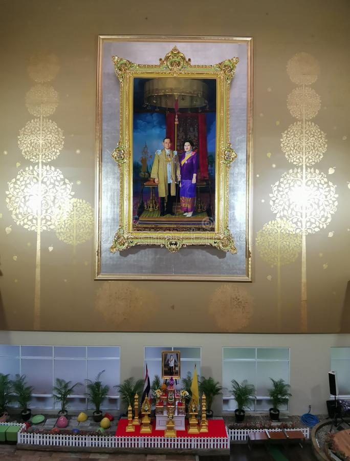 Bangkok,Thailand -April 28, 2019 : King Rama 9  His Majesty King Bhumibol Adulyadej & Queen Image at the Hall of Ramathibodi Hos royalty free stock photography