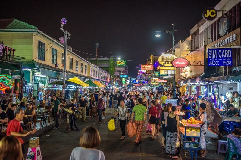Nightlife at the Khaosan Road in central Bangkok. Bangkok, Thailand - April 1, 2018 : Nightlife at the Khaosan Road, a world famous tourist district in central royalty free stock photography