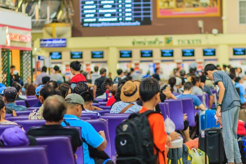 Bangkok, Thailand - April 23, 2017: Passengers waiting for a trains at Hua Lamphong train station, the main railway station in Ba. Ngkok, Thailand royalty free stock photography