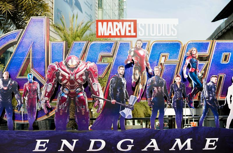 Bangkok, Thailand - April 27, 2019 : A photo of Avengers movie standee displayed outdoor to promote the last episode : Avengers stock photography
