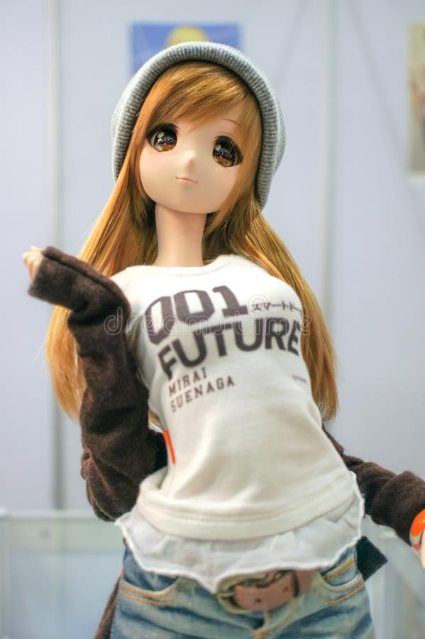 BJD doll or Ball jointed doll of Mirai-chan in casual outfit stock photo