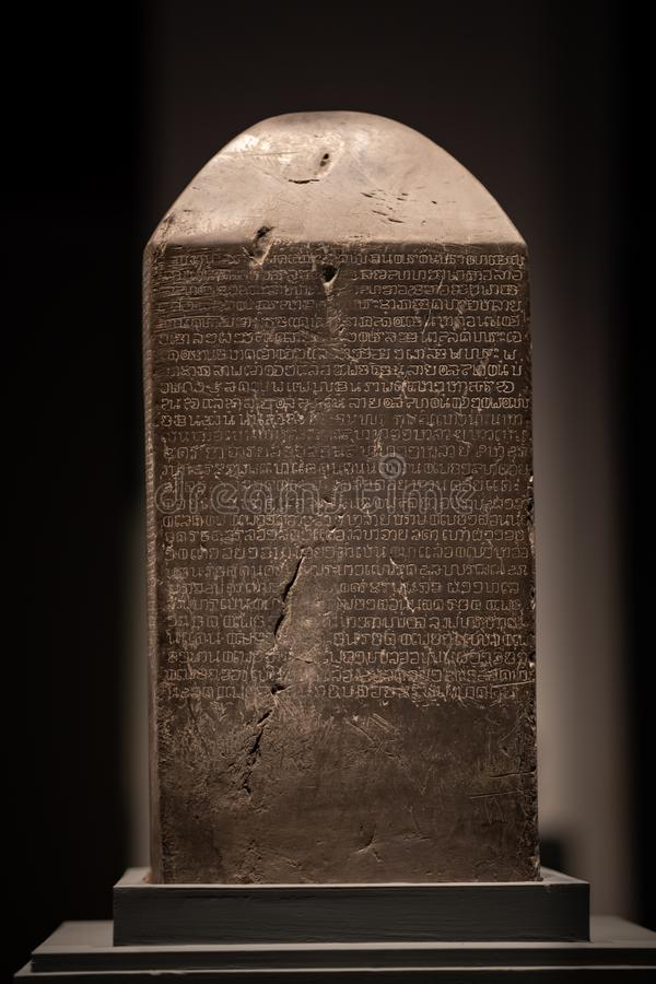 Bangkok, Thailand - April 11, 2019 : The Ram Khamhaeng Inscription Sukhothai Inscription No. 1, it was eventually deciphered and stock image