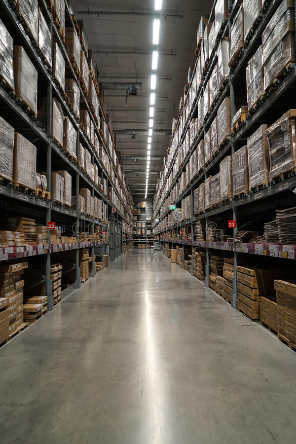 Bangkok, Thailand - April 6, 2017 :Row of packed ready-to-assemble furniture products in warehouse section, IKEA Bangna. Thailand portrait layout photo stock photo