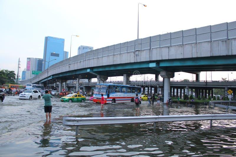 Bangkok, Thailand - April 11 2011 : thai flood hits ladprao Intersection of Thailand. Flooding in Bangkok Thailand royalty free stock photography