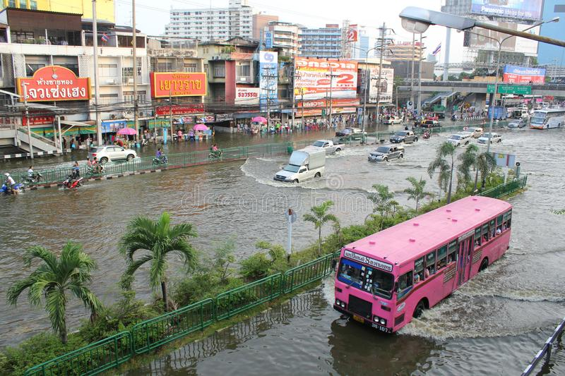 Bangkok, Thailand - April 11 2011 : thai flood hits ladprao Intersection of Thailand the flood after the heaviest monsoon rain in. 20 years. Flooding in Bangkok royalty free stock photo