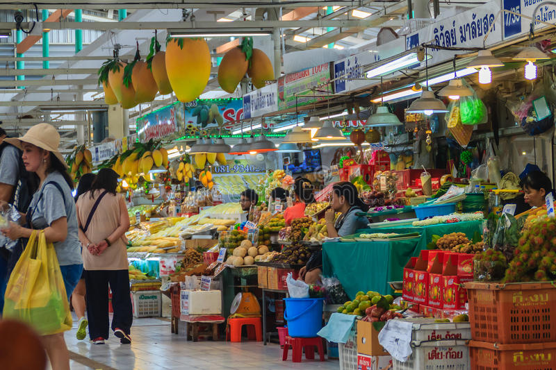 Bangkok, Thailand - April 23, 2017: Or Tor Kor Market (Marketing Organization for Farmers) is ranked as one of the 10 world's f stock photo