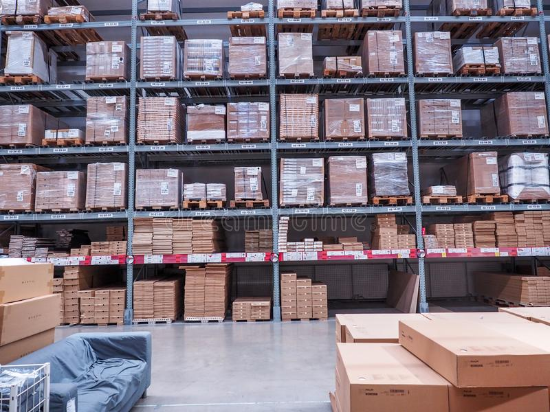 BANGKOK, THAILAND - April 4, 2017: Warehouse storage in an IKEA store. Founded in 1943, IKEA is the world`s largest furniture royalty free stock photos