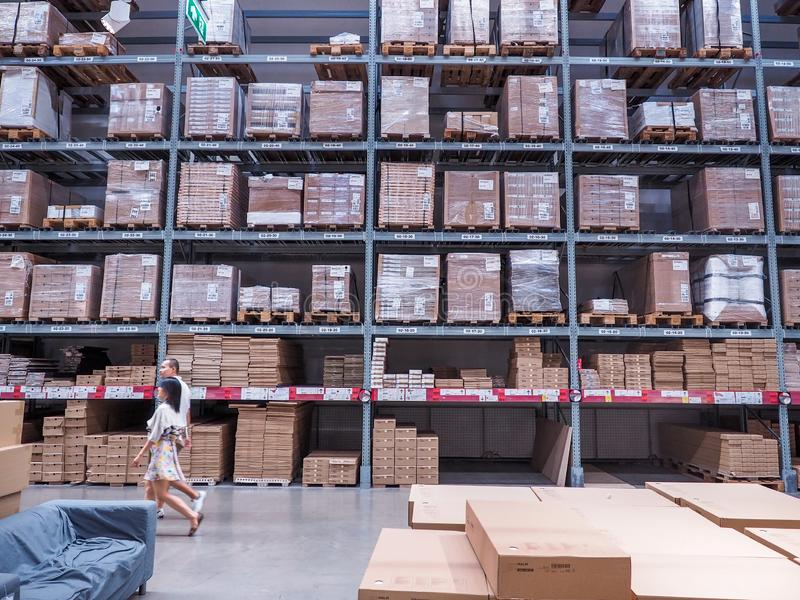 BANGKOK, THAILAND - April 4, 2017: Warehouse storage in an IKEA store. Founded in 1943, IKEA is the world`s largest furniture. Retailer. IKEA operates 351 royalty free stock photos