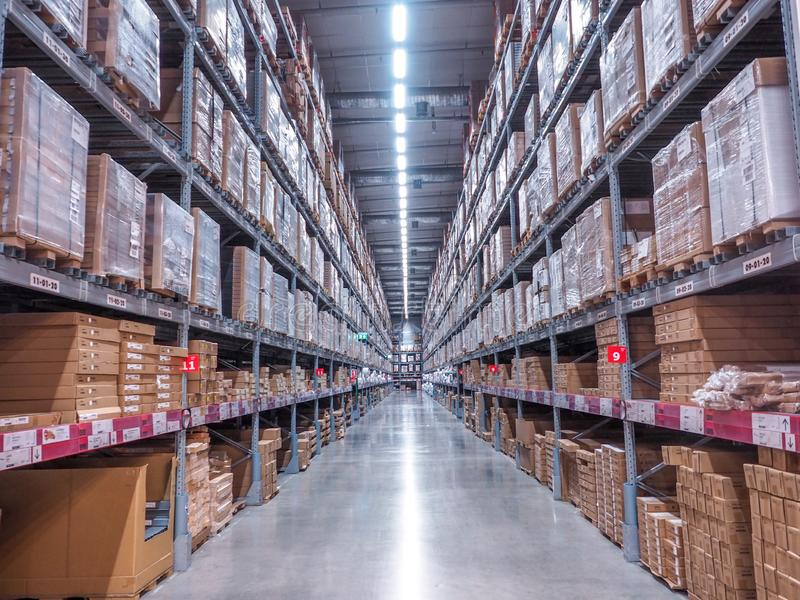 BANGKOK, THAILAND - April 4, 2017: Warehouse storage in an IKEA store. Founded in 1943, IKEA is the world`s largest furniture. Retailer. IKEA operates 351 stock photography