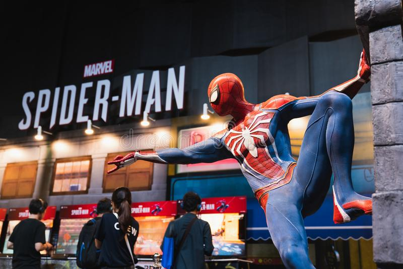 Bangkok, Thailand - Aug 18, 2018: New Spider-Man PS4 game event in PlayStation Experience SEA South East Asia 2018. Spiderman model showing at demo booth with royalty free stock images