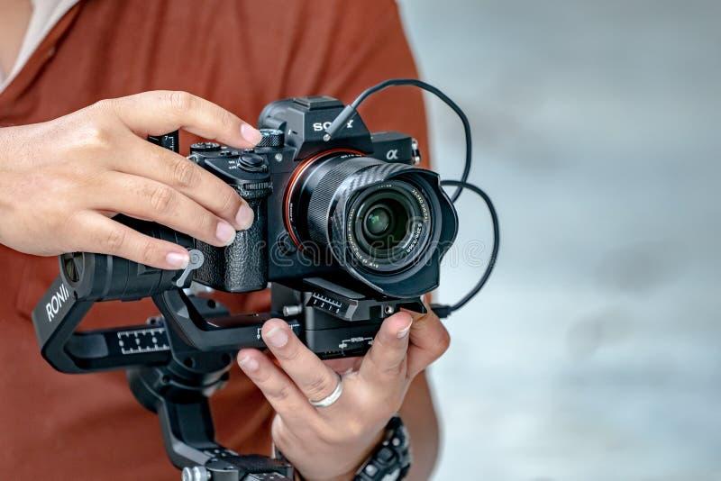 Bangkok, Thailand - 19. August 2018: Berühmte Kamera; Sony stockfotografie