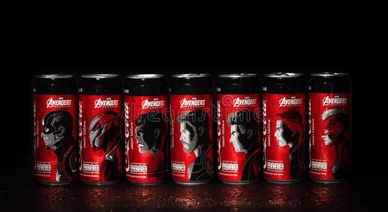Bangkok, Thailand - August 7, 2019. Collection of Coke cans with a pattern of AVENGERS teams, Captain america, Iron man, Hulk,. Thor, Hawk eye, Black widow stock image