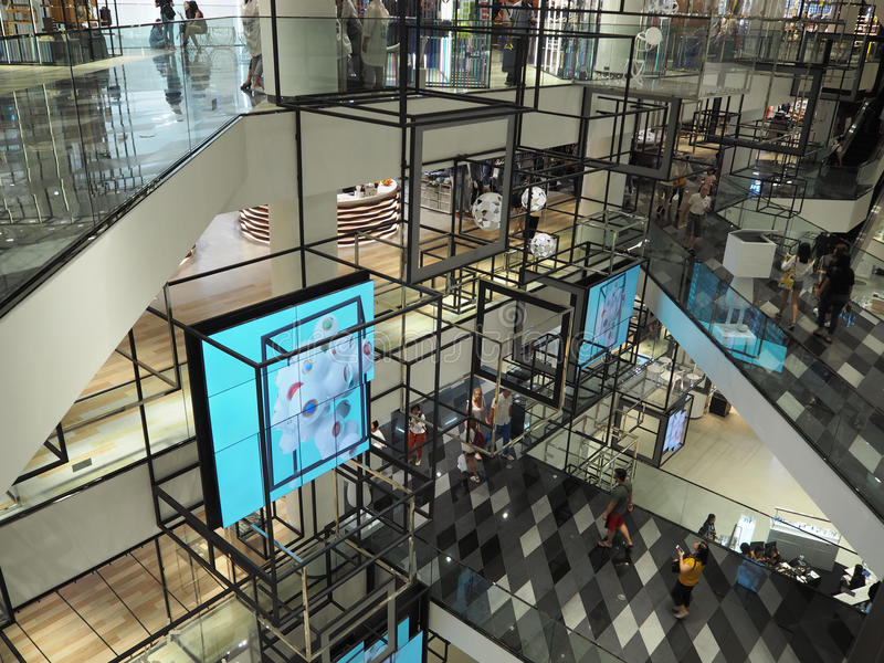 BANGKOK THAILAND - AUGUST 7, 2016: Interior in Siam Discovery. It is community mall in Bangkok, Thailand. stock images