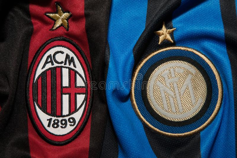 BANGKOK, THAILAND - AUGUST 5: Logo of AC Milan and Inter Milan. Football Club on the Jersey on August 5,2017 in Bangkok Thailand stock photography