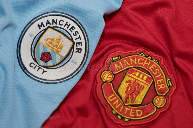 BANGKOK, THAILAND - AUGUST 5: Logo of Manchester City andManchester United Football Club on the Jersey on August 5,2017 in. Bangkok Thailand stock photo