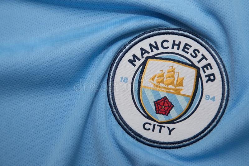 Bangkok Thailand August 5 The Logo Of Manchester City Football Club On The Jersey On August 5 2017 In Bangkok Thailand Editorial Photo Image Of Brand Logo 101120406