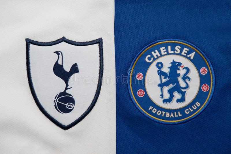 BANGKOK, THAILAND - AUGUST 5: The Logo of Tottenham Hotspur an. D Chelsea on Football Jerseys on August 5 ,2017 in Bangkok Thailand royalty free stock photos