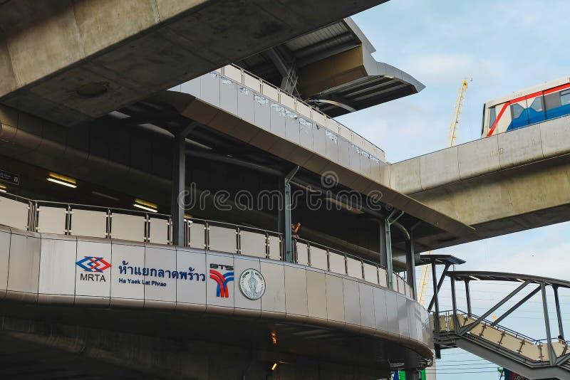 Bangkok, Thailand - August 10 2019: Name tag of  BTS or Bangkok skytrain at Ha Yaek Lat Phrao Station royalty free stock photography