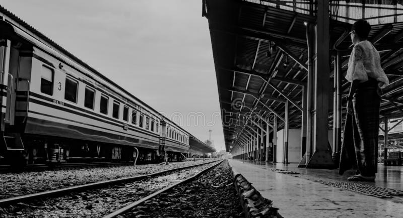 Bangkok, Thailand, August 30,2019 : Bangkok Railway Station, famous place of Thailand in black and white, vintage style. 302019, transportation, people, woman royalty free stock images