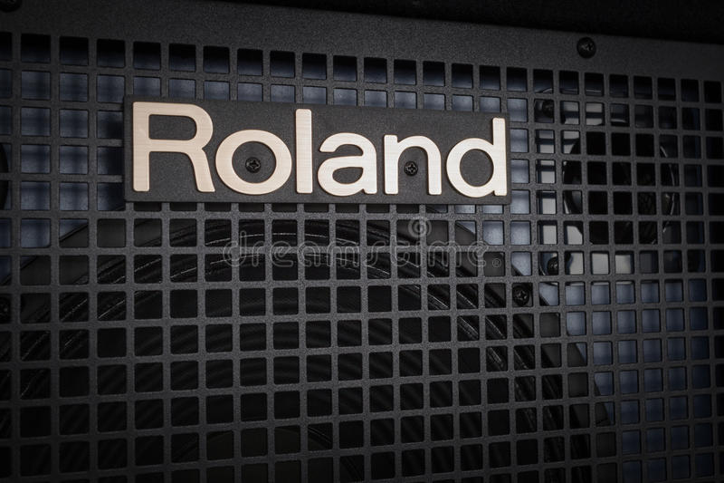 BANGKOK, THAILAND - AUGUST 6 : Roland Logo on Keyboard Power Amp stock photography
