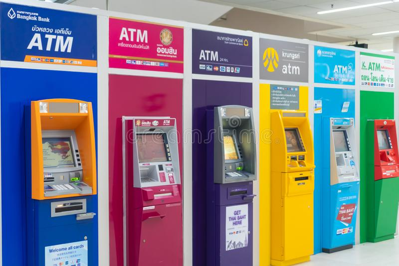Bangkok, Thailand - 15 August 2019: Thai colorful ATM machines placing in airport. royalty free stock photo