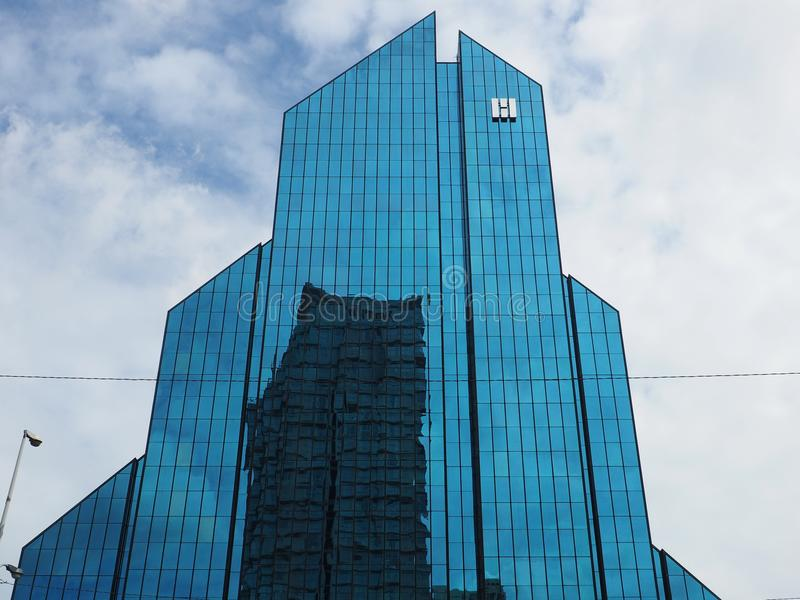 Reflection in Harindhorn Building in Bangkok stock photography