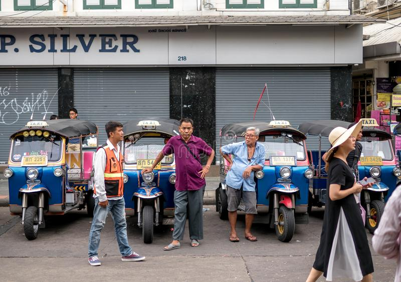 Bangkok, Thailand - August 19, 2018: Tricycle service tuk tuk thailand is popular for tourists the people.  royalty free stock image