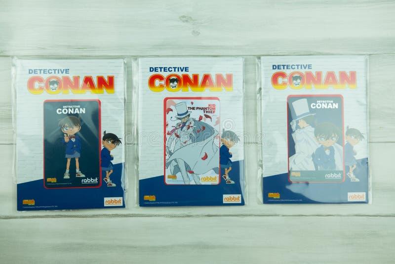Bangkok Thailand - Augusti 8, 2019 för Conan för kriminalare för BTS-biljettmodell försäljning för start samling i 7 Augusti 2019 royaltyfria foton