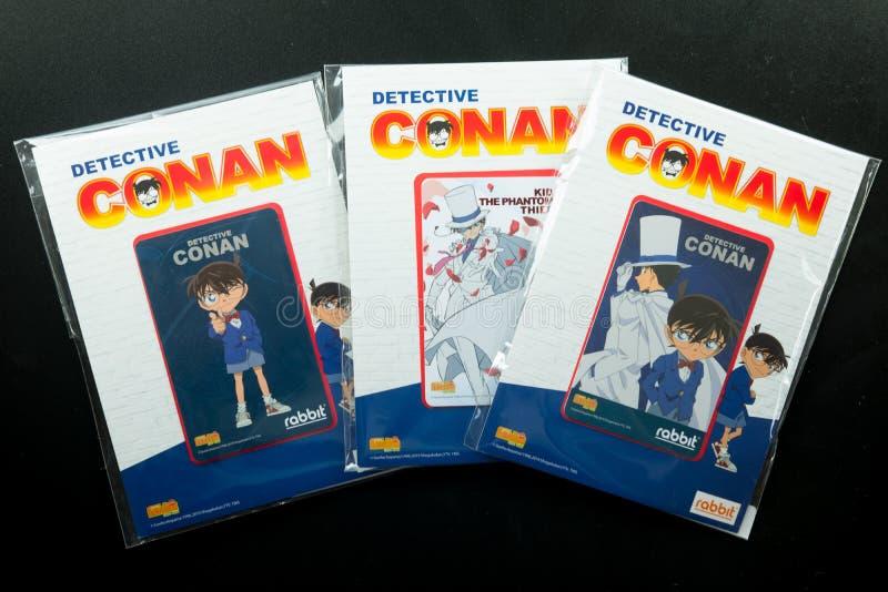Bangkok Thailand - Augusti 8, 2019 för Conan för kriminalare för BTS-biljettmodell försäljning för start samling i 7 Augusti 2019 royaltyfri fotografi