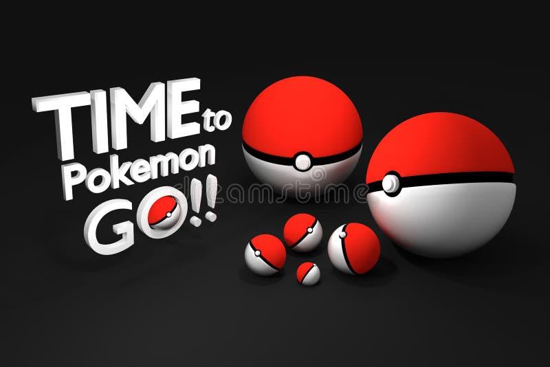 Bangkok, Thailand - Augustus 24, 2016: 3d teruggevende Illustratie van pokeball, een beroemd spel van Pokemon-animatie vector illustratie