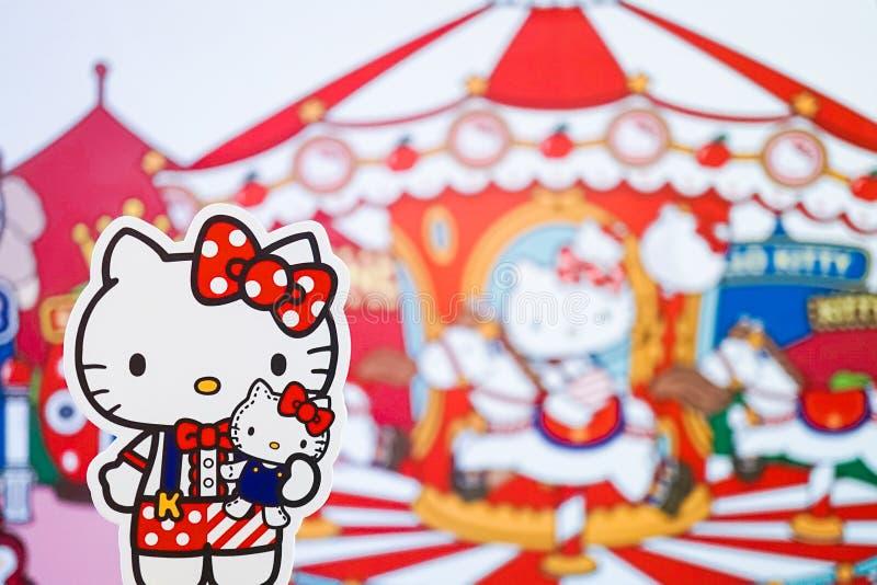 Bangkok, Thailand - breng 23, 2019 in de war: Een foto van Hello Kitty bij mini het themapark van Hello Kitty Go Around Bangkok a royalty-vrije stock foto