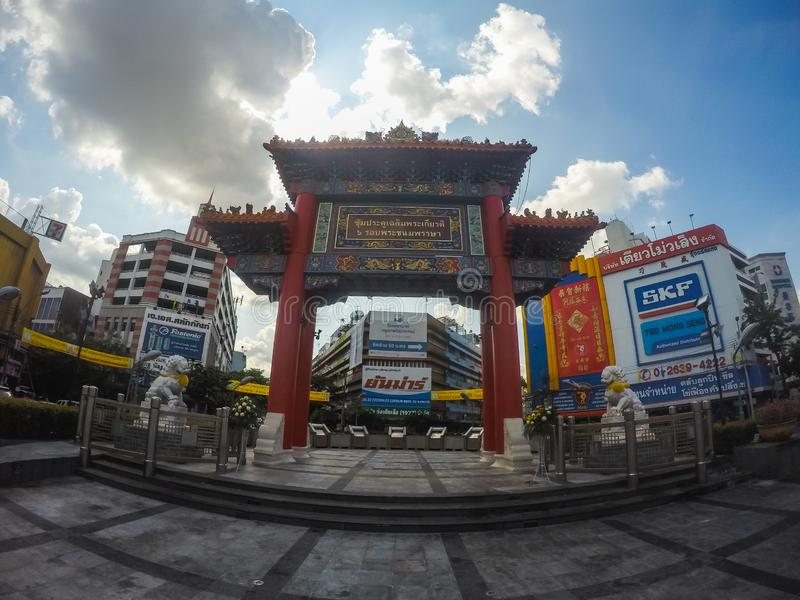 Bangkok, Thailand - november 15, 2016: busy rush hour city street with lots of signs and banners in the background, chinatown, tuk royalty free stock photos