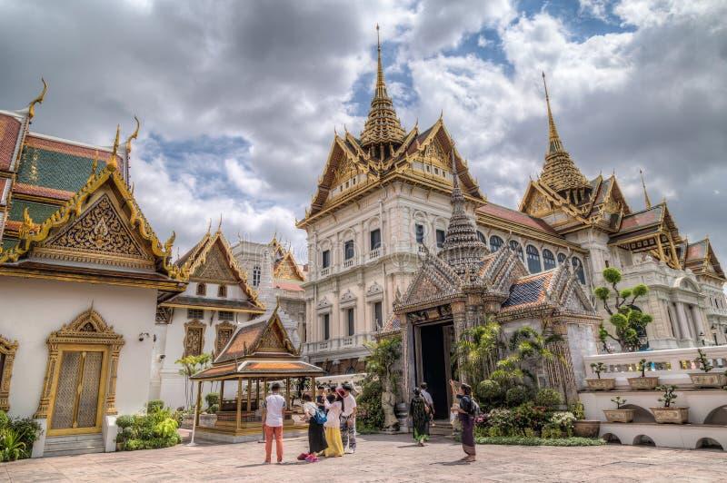 BANGKOK, THAILAND - CIRCA AUGUST 2015: Snamchand Pavilion and Chakri Maha Prasat Hall, Bangkok, Thailand stock photo