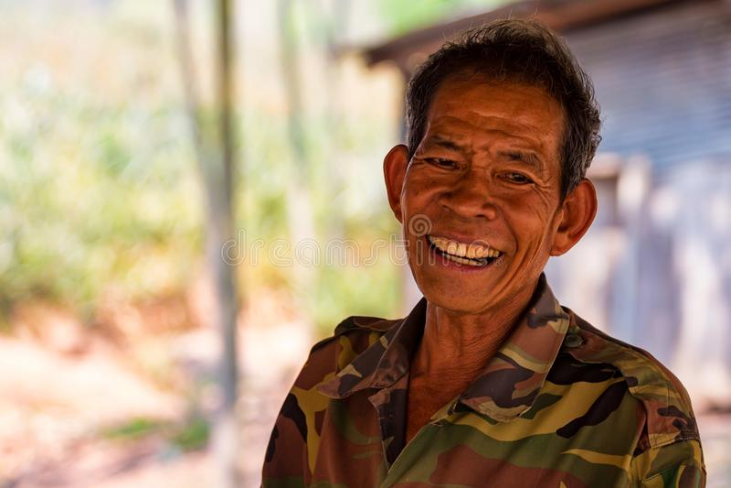 BANGKOK, THAILAND - CIRCA MARCH 2013: Portrait of unidentified happy countryman stock image