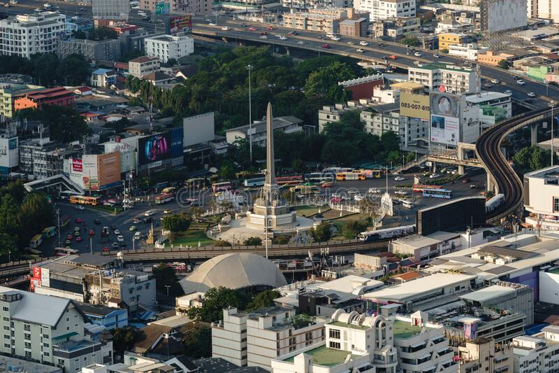 Aerial view of Victory monument in central transportation in Bangkok, Thailand royalty free stock images