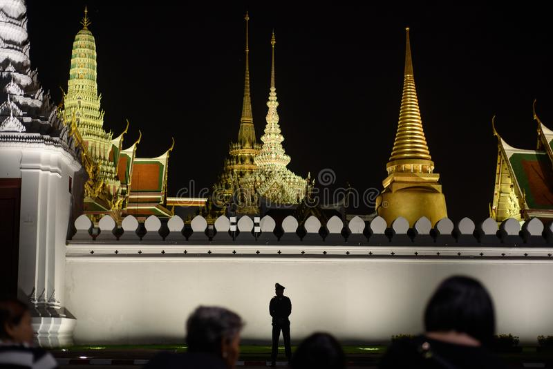 Thai people grieve over the demise of King Rama9. BANGKOK,THAILAND-DEC5,2016:The death of Thai beloved king rama9 on 13 October,2016 makes the people being in royalty free stock photos