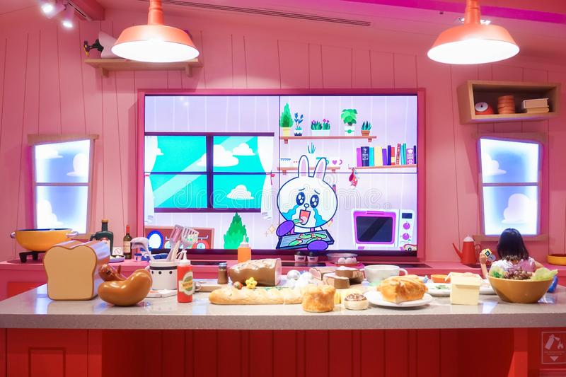 Bangkok, Thailand - Dec 22, 2018 : A photo of Cony in her sweet pink cooking room with a lot of food ingredients on the table, stock photography