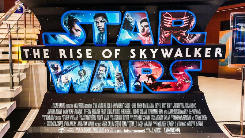 Bangkok, Thailand - Dec 12, 2019: Star Wars The Rise of Skywalker movies logo advertising on backdrop poster. Standee in cinema theatre. Movie advertisement or stock photo