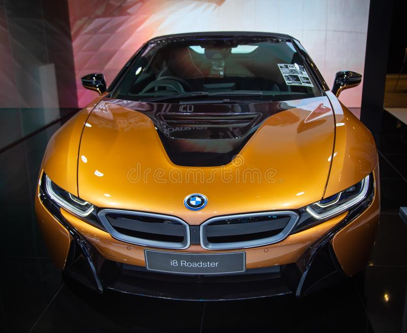 BMW i8 Roadster. Bangkok, Thailand - December 4, 2018: BMW i8 Roadster display in BMW showroom in Bangkok royalty free stock images